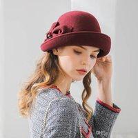 En iyi Fibonacci 2020 YENI Marka Kalite Flanşing Çiçek Yün Fedoras Kadınlar Sonbahar Kış Şapkalar Kedin Dome Zarif Ziyafet Fedora Şapka