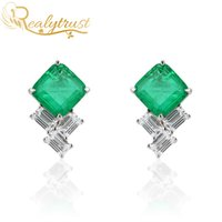 Realytrust Moda 9 * 9mm Quadrato Colombia Emerald Gemstone Gemstone orecchini per le donne Solid 925 orecchini in argento sterling 925 nozze 210325