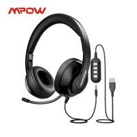 MPOW 224 Fones de ouvido de computador 3.5mm USB fone de ouvido com cancelamento com ruído retrátil Cancelando fone de ouvido sobre a orelha dobrável para o Skype PC
