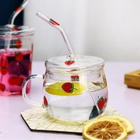Creative Strawberry Children's Milk Juice Water Cups Glass Home Drinking Breakfast Straw With Lid Net Red My Bottles Gift Wine Glasses