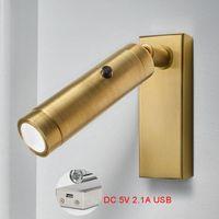Lâmpadas de parede Lâmpada moderna Mount Cama Leitura Luz Luz DC 5V USB Charger Quarto Girando Night Lumines