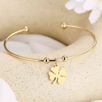 Charm Bracelet Cacana 316l Stainless Steel Open Gold Color Clover Simple Trendy Jewelry for Women Bracelets Wedding Party N1958