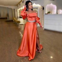 A-Line Satin Prom Dresses Strapless Beading Belt Lace Up Back Evening Gowns High Slit Long Puffy Sleeves Party