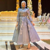 Classy Muslim Beaded Evening Dresses High Neck Appliqued Long Sleeves Prom Gowns A Line Tea Length Sequined Organza Formal Dress