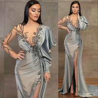 Silver Sheath Long Sleeves Evening Dresses Wear Illusion Crystal Beading High Side Split Floor Length Party Dress Prom Gowns Open Back Robes De Soirée