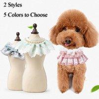 Pet Supplies Beautiful Adjustment Belt Towel Fashion Dog Cat Bib With Bead Cute Lace Pink Blue White Bandana Neckerchief Apparel