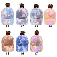 Tie-dye Ponytail Hats 7 Colors Woman Washed Baseball Caps Outdoor Sports Messy Bun Trucker Hat CYZ3217