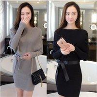 Kemer Ücretsiz 2021 Yeni Sonbahar Ve Kış Giyim Kore Moda Ince Çanta Kalça Batman Kazak Kadın Kazak Elbise