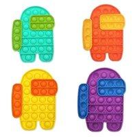35 PZ / DHL Sensorio Push Pop Pop Fidget Bubble Toys Giocattoli Cartoon Robot Rainbow Colore Spremere Puzzle Finger Fun Gioco Teether Stress Sollier sfiato bolle