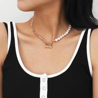 Pendant Necklaces TARCLIY Trendy Half Figaro Link Chain Pearl Choker Necklace Asymmetric Toggle Clasp Vintage Geometric Women Jewelry