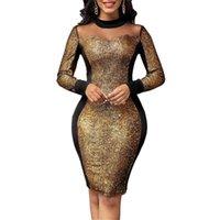 Casual Dresses Party Dress Women's 2021 Autumn Elegant Gold Sequin Mesh Evening Wedding Nightclub Long Sleeve Sheath Bodycon