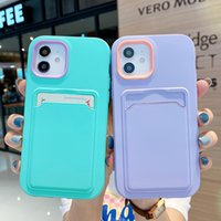 High quality Two-in-one liquid TPU plus PC thickened cell phone cases anti-drop phone Case for iPhone 11 12 Pro Max mini 7P 8P X XS XR card can be inserted