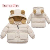 Lawadka Kış Çocuk Kız Erkek Ceket Pamuk Aşağı Mont Kulak Hoodie Giysi Moda Çocuk Parka Giyim Yaşı 2-6Year 210903
