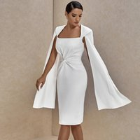 Ocstrade Runway Crepe Portrait Twist Cape Sleeve White Bodycon Dress 2021 Fall Women Sexy Club Evening Party Casual Dresses