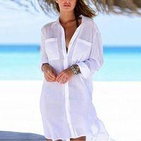 Sommer Bluse Frauen Strandbedeckung Tastendrücktasche Lange Hemden Lose Sonnencreme Bikini Strand Bluse Lässig Tunika Tops 2020 A6FU #