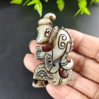 Natural Jade Antique Han Dynasty Carving Noble Old Man Jade Pendant Amulet Mascot Collection Jewelry Decoration Gift