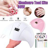 Nail Art Kits Professional Manicure Set 36W UV LED Automatic Sensor Drill Machine File Grinding Strip Beautify Nails Tools