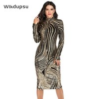 Casual Dresses Sequin Bodycon Dress Women Party Night Glitter Elegant Autumn Winter Long Sleeve Slim Womens Stage Dance Costume Clothes Fema