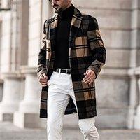 مصمم الرجال معاطف النمط البريطاني طية صدر السترة الرقبة طويلة الأكمام فضفاض خندق معاطف عارضة الصلبة لون الرجل قميص