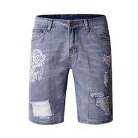 Hombre pantalones vaqueros cortos personalidad impresión lavada casual slim fit verano nuevo estilo de moda homme jeans
