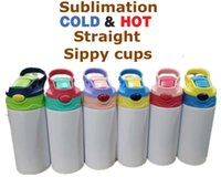 12oz Sublimation Straight Sippy Cup Children Water Bottle 350ml Blank white Portable Stainless Steel vacuum insulated Drinking tumbler for wholesale