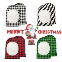 48 * 64cm 크리스마스 선물 가방 승화 공백 산타 자루 격자 무늬 패턴 사탕 저장 가방 Drawstring W-00984