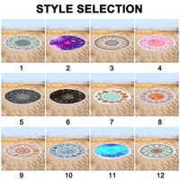 Carpets Quick-dry Round Colorful Beach Towel With Tassel And Multiple Patterns HANW88