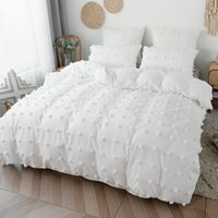 Bedding Sets White Color Simple Jacquard Duvet Cover Set With Pillowcase Plush Small Ball Decorative US EU Full Queen King Size