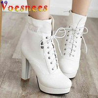 Voesnees Martin Boots Women Autumn and Winter Lace-up Velvet Shoes Square Heel Rround Toe High Heels Ankle 210516