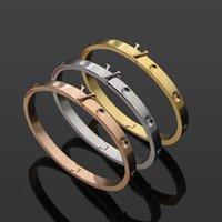 Titanium Steel Love Braclets Серебряный розовый золотой браслет браслетов классические сплавленные круглые ногти женщины мужчины v письмо обручальные украшения логотип печатные подарки
