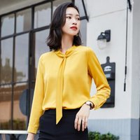 Autumn Spring Style Yellow Shirts For Women Fashion Work Wear Korean Slim Office Business Blouse Plus Size Tops Women's Blouses &