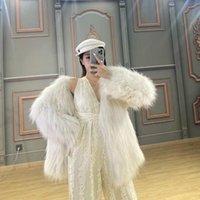 Kadın Kürk Faux OFTBUY 2021 Klasik Gerçek Ceket Doğal Rakun Örme Giyim Kış Ceket Kadınlar Kalın Sıcak Streetwear