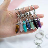 شقرا مسدس prism الحجر الطبيعي المفاتيح حلقة رئيسية حقيبة معلقة الأزياء والمجوهرات هدية هدية قطرة السفينة 340041