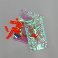 Nail Art Kits 50 st Rainbow Film Laser Plastic Ziplock Tas Transparante Oorbel Sieraden Fake Stuk Gift Packing Set Set Set Set