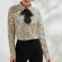 Осень Одежда Женщины Рубашка Мода Лук Печать Тонкий коммутарный Офис Леди Дот Кардиган Женские Топы Блузка Высокое Качество Женщины Блузки SH