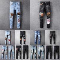 Mens femmes Designers Jeans en détresse Biker déchiré Slim Denim Droit pour hommes S Print Army Mode Mans Skinny Pant