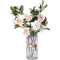 Flores decorativas grinaldas Única camélia flor artificial gardênia nórdico chá rose ins estilo falso casa interior decoração de casamento