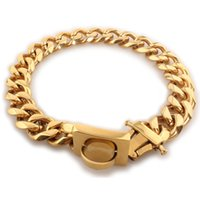 19mm Stainless Steel Pet Dog Chains Titanium Steel Six Side Dog Collar Big Gold Chain Dog Circle