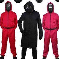 Squid game cosplay costume red tracksuit masked killer romper with belt gloves unisex jumpsuit black boss wind coat Halloween Horror Costume Party Xmas Prop H10ZXE7