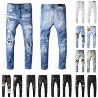 2021 Mens Designer Jeans Distressed RIPPED Biker Slim Fit Moto Moto Biker Denim per gli uomini Fashion Mans Pantaloni neri 20SS POUR HOMMES
