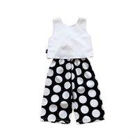 Kids Clothing Sets Girls Outfits Baby Clothes Children Suit Summer Chiffon Tops Vest Dots Trousers Wide leg pants 2Pcs 2-6Y B5201