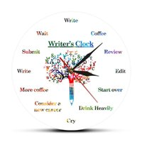 Time To Write Funny Wall Clock For Writers Fiction Writer's Word Art Contemporary Hanging Watch Writing Fan Writer Gifts Clocks