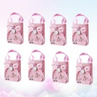 12pcs Baby Shower Paper Gifts Box Mini Tote Candy Bag Christening Decoration Party Favors Kraft Gift Bags With Handles For Wrap