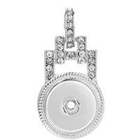 18mm 20mm 쥬얼리 목걸이에 대한 UNISEX SNAP 목걸이 모조 다이아몬드 펜던트 실버 컬러 버튼 펜던트 F JLLUCN