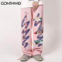 Gonthwid Giapponese Anime Occhi dei cartoni animati Joggers Harem Streetwear Uomo Hip Hop Casual Fashion Adoly Pantaloni Pantaloni Pantaloni Pantaloni