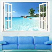 Наклейки на стену летний пляжный наклейки декор Большое съемное море 3D окна Вид на наклейки пейзажа наклейки гостиная обои