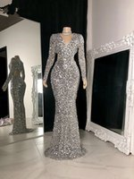 Luxury Real Sample Mermaid Prom Dress 2021 Long Sleeve V-neck African Black Girls Sparkly Silver Sequined Evening Party Gowns