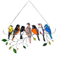 Birds stained glass window hangings Stained glass cardinal suncatcher Garden Decoration Outdoor NHB6742