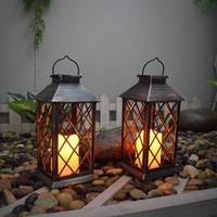 Lawn Lamps Outdoor Decoration Garden Metal Lantern Shape Solar Lights Stake Waterproof Landscape Accessories