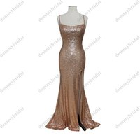 2022 Simple Rose Gold Mermaid Prom Bridesmaid dresses with Spaghetti Straps Side Slit Sequins Long Cocktail Homecoming Evening gown